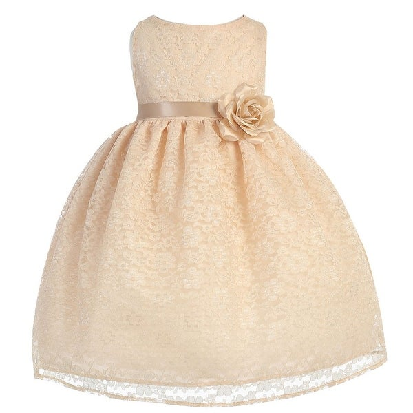 Baby Girls Champagne Floral Lace Flower Girl Dress 6-24M