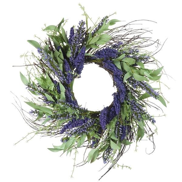 "Enova Home 24"" Artificial Lavender Flower Wreath For Home Garden Decoration. Opens flyout."