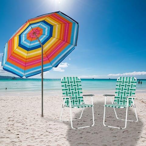 Folding Beach Chair Light Green Strip Steel Tube PP Webbing Bearing set of 2