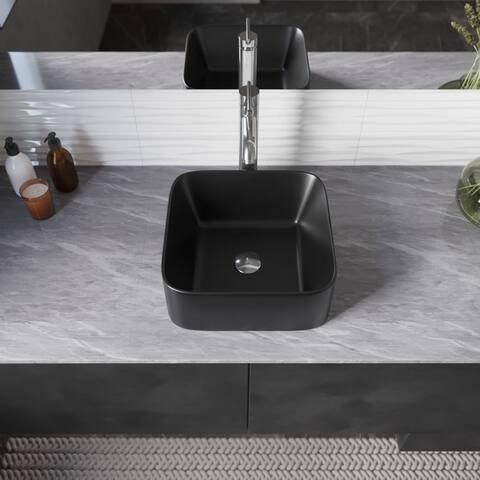 R2-5033-MB Porcelain Vessel Bathroom Sink and C Pop-Up Drain