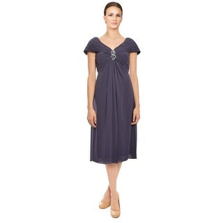 Tadashi  Pleated Portrait Neckline Chiffon Cocktail Dress - 2