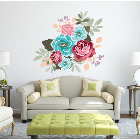 Flowers Roses Bouquet Wall Decal, Flowers Roses Bouquet Wall sticker, Flowers Roses Bouquet wall decor