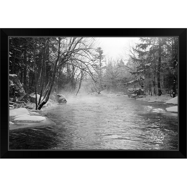 """Misty river flowing through frosty woods"" Black Framed Print"