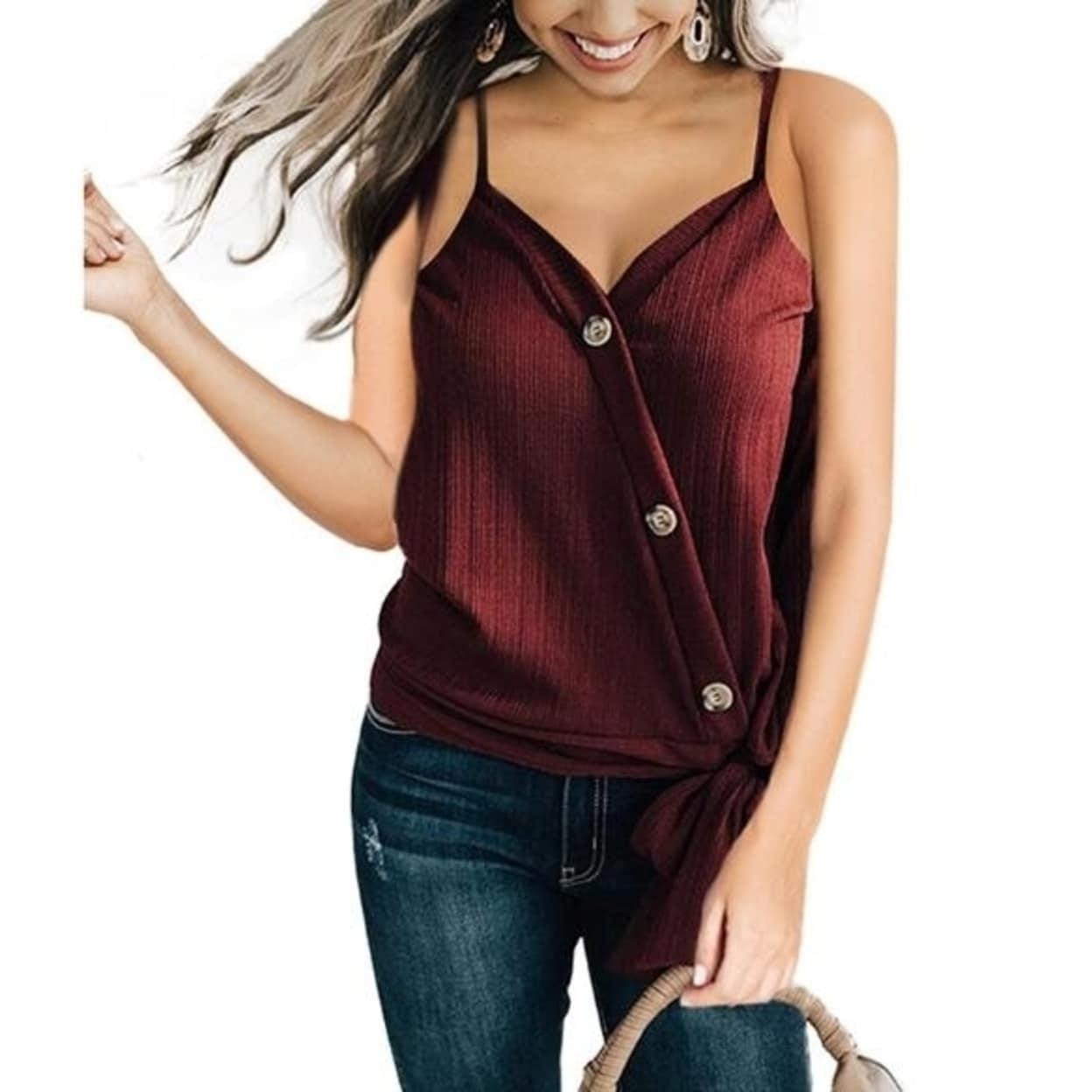 Women Short Sleeve Vest Blouse Casual Tank Tops Summer Crop Shirt Cami Tops US