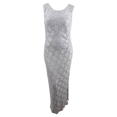 Connected Women's Sequined Lace Slit Gown