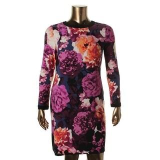 Eliza J Womens Petites Long Sleeves Knee-Length Wear to Work Dress
