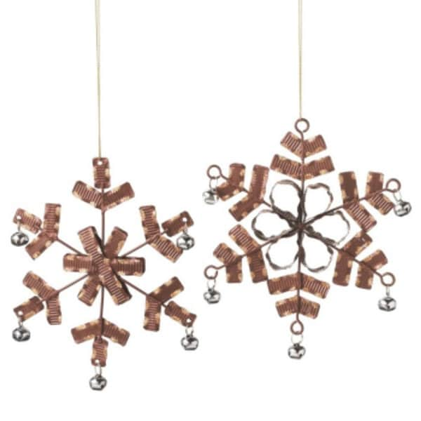 Urban Nature Chocolate Brown Crimped Gold Glitter and Silver Jingle Bell Accented Snowflake Ornament 6.5""
