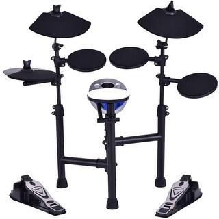 Costway Electronic Drum Set Kit w/ 7.5'' Snare+ 7.5'' Toms+ 10'' Cymbal+ Drum Sticks