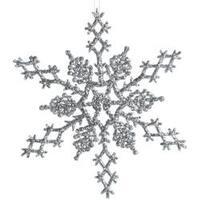 "Silver - Glitter Snowflake 6.5"" 6/Pkg"