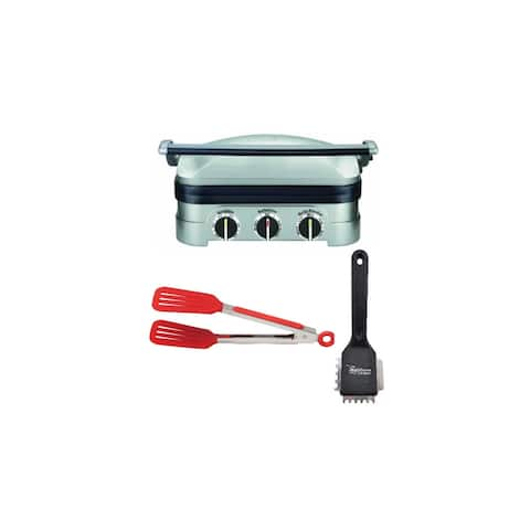 Cuisinart Stainless Steel 5-in-1 Griddler w/Grill Brush & Tongs Bundle