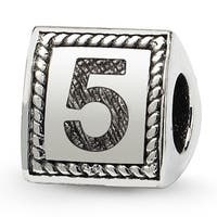 Sterling Silver Reflections Number 5 Triangle Block Bead (4mm Diameter Hole)