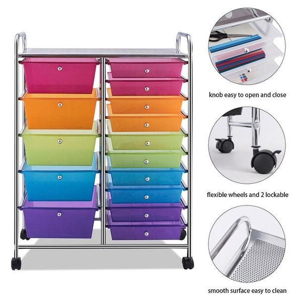 3 Drawer Wide Cart Storage Plastic Organizer Rolling Cart Closet Bundle of 2