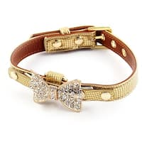 Faux Leather Bowknot Shape Decor Adjustable Pet Dog Cat Collar Gold Tone S