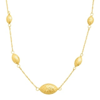 Just Gold Puffed Section Station Necklace in 14K Gold - Yellow