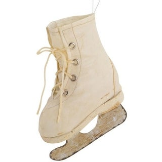 Pack of 4 Plastic Cream Leather Ice Skate Ornaments