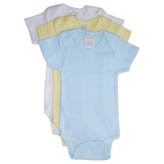 Bambini Baby Boys Blue Yellow White Rib Knit Cotton 3-Pack Bodysuits