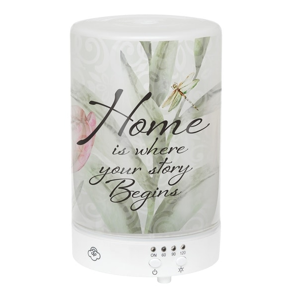 "5.75"" LED Floral Dragonfly ""Home Is Where"" Inspirational Essential Oil Diffuser - N/A"