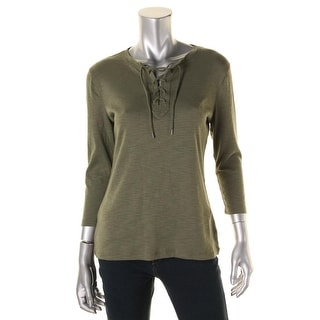 American Living Womens Slub Lace-Up Pullover Top