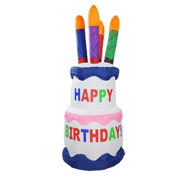 4 Inflatable Lighted Happy Birthday Cake Outdoor Decoration Multi