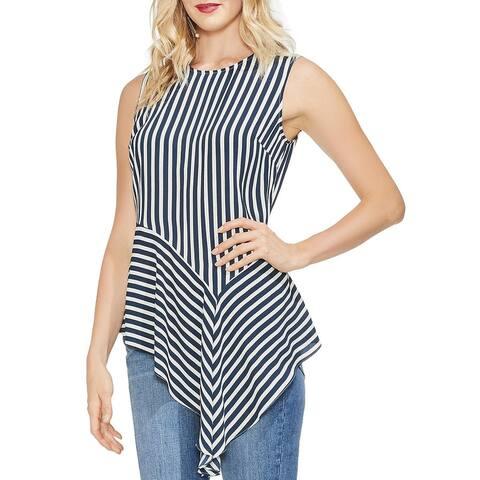Vince Women's Sleeveless Asymmetrical Blouse, Ink Blue, Medium