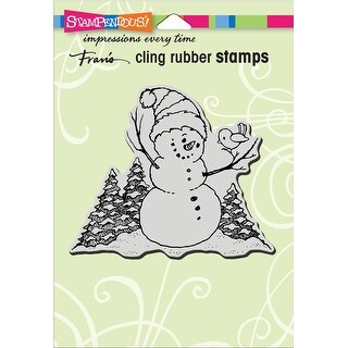 Stampendous Cling Stamp -Snowman Perch