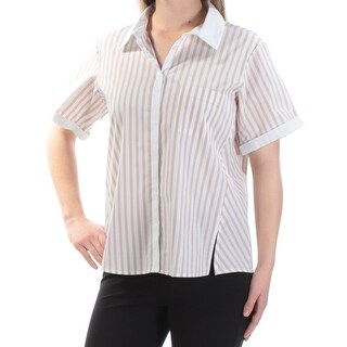 Womens Beige Ivory Striped Short Sleeve Collared Button Up Top Size S