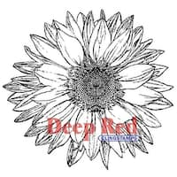 """Large Sunflower - Deep Red Cling Stamp 3.25""""X3.25"""""""