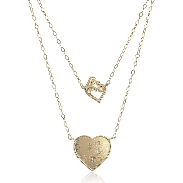 1431b005e15ab Shop Layered Mother & Child Heart Necklace with Diamond in 14K Gold ...