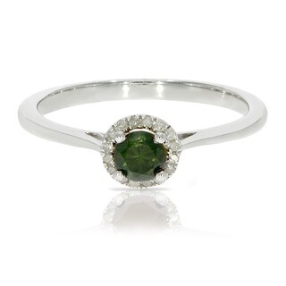 0.37 Ctw Classic Round Diamond Engagement Ring w/ 0.30 Carat Green Diamond Halo Ring