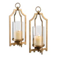 Set of 2 Metallic Gold Metal with Clear Glass Globes Decorative Candle Holders 13""