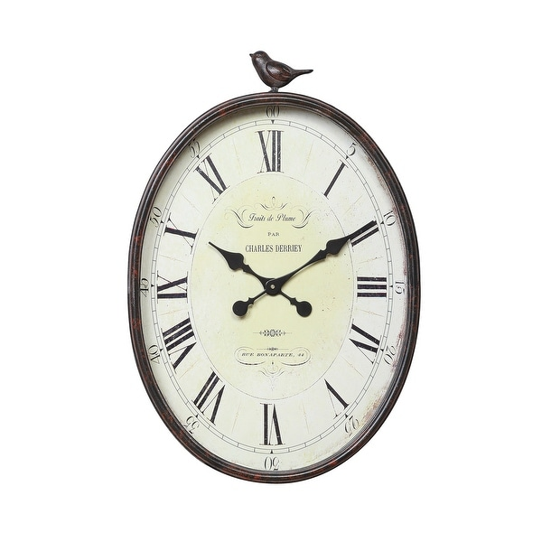 Oval Metal Wall Clock with Bird. Opens flyout.