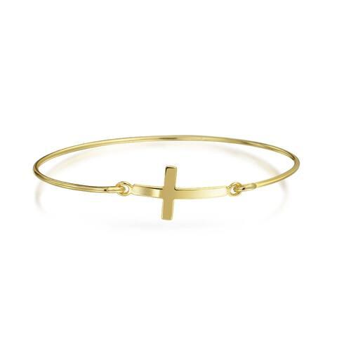 Minimalist Religious Diagonal Sideways Cross Bangle Bracelet For Women For Teen 14K Gold Plated 925 Sterling Silver