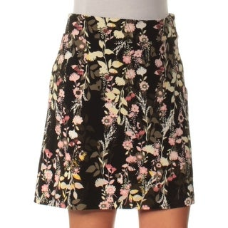Womens Black Floral Casual Skirt Size 2XS