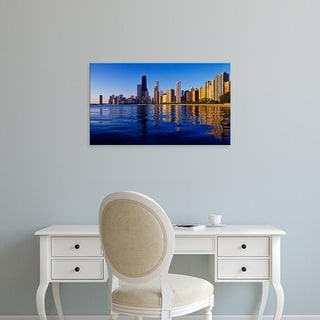 Easy Art Prints Panoramic Images's 'Buildings by waterfront, Lake Michigan, Chicago, Cook County, Illinois' Canvas Art