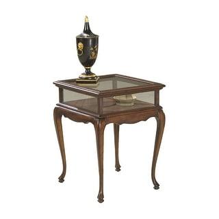 Offex Traditional Rectangular Curio Table - Brown
