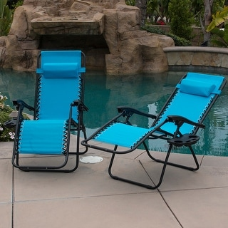 Belleze Set of 2 Outdoor Beach Patio 300LBS Capacity Zero Gravity Lounge Recliner Chairs,  Sky Blue
