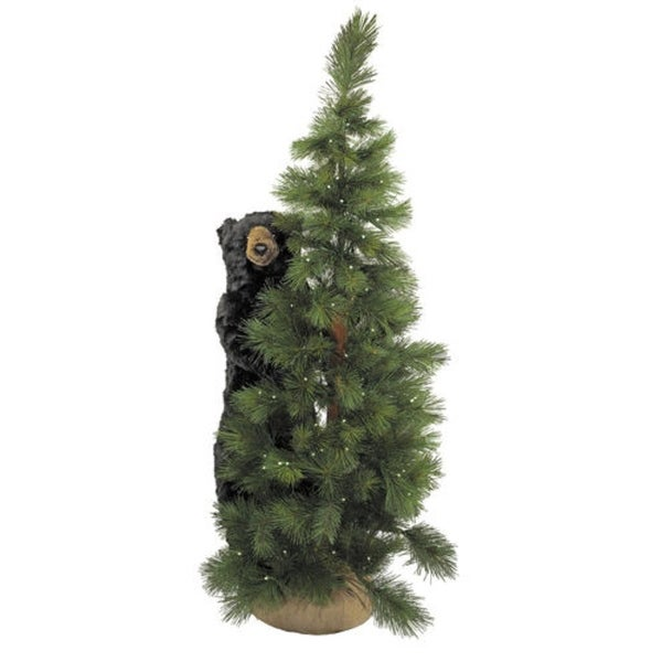 6 pre lit scotch pine artificial christmas tree with black bear - Black Artificial Christmas Tree