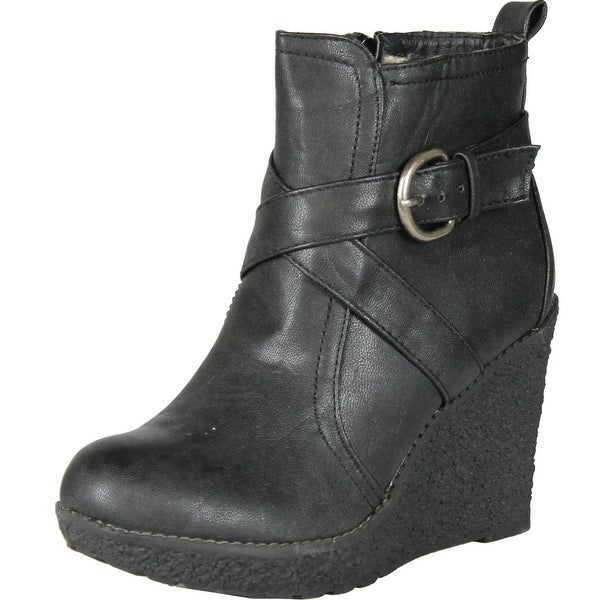 Enigma Womens Bc600 Wedge Boots With Buckle Detail