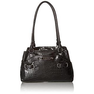 Rosetti Womens Multiplex Farrah Croco Faux Leather Satchel Handbag - Medium
