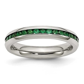 Stainless Steel 4mm May Green CZ Ring