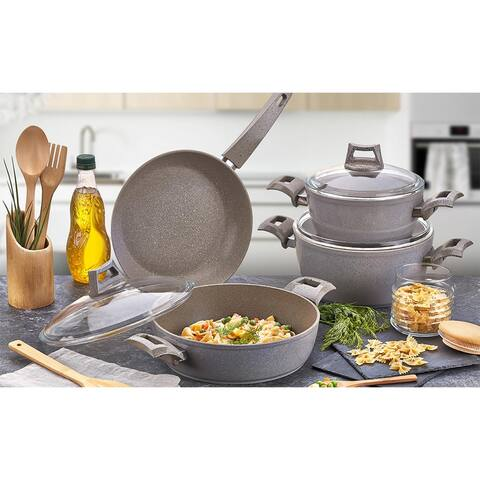 SavaHome Granite Cookware Set, 7 pcs, Gray