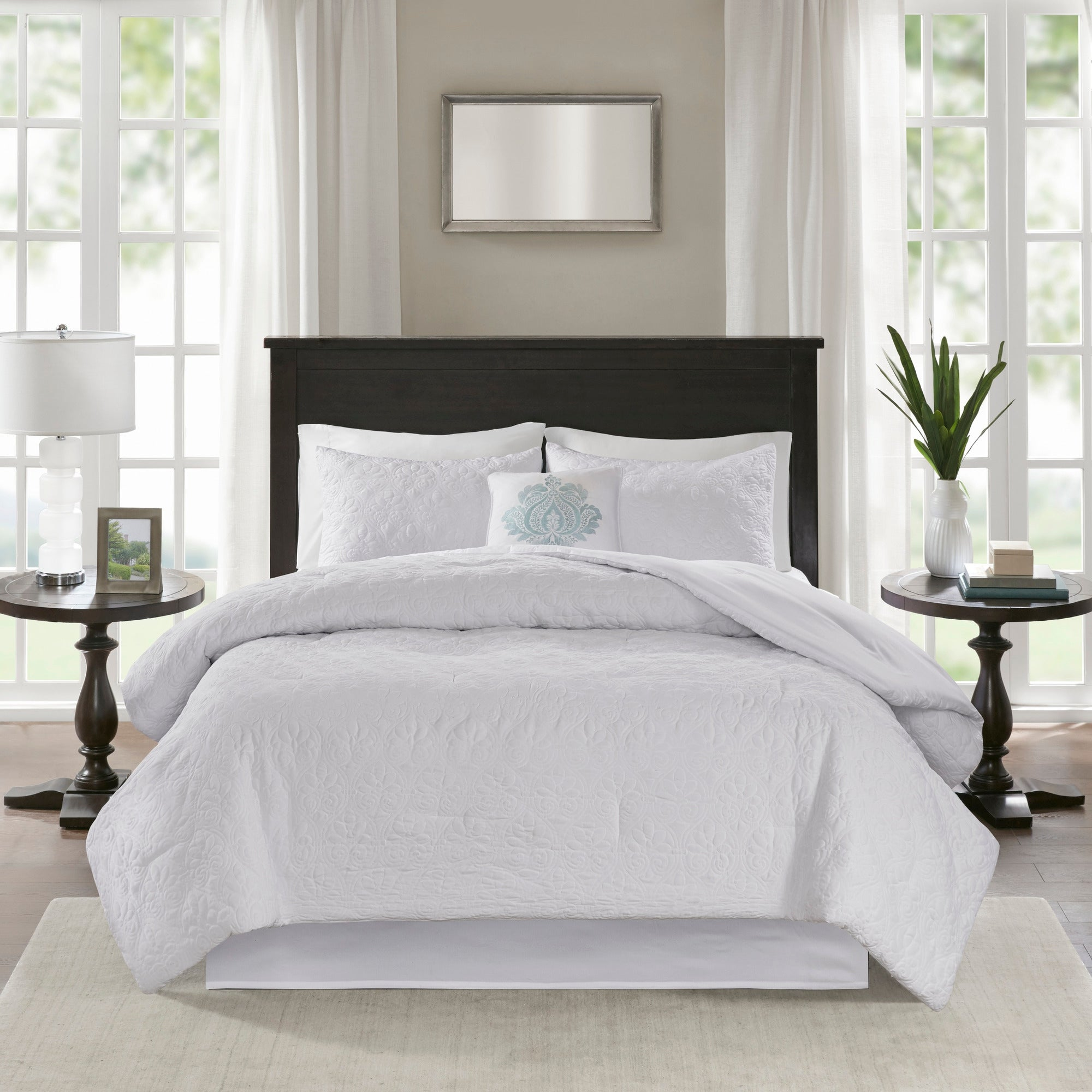 Madison Park Mansfield Quilted White Comforter Set On Sale Overstock 11584021
