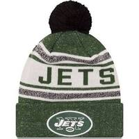 New Era Mens New York Jets Toasty Cover Cuffed Knit Hat With Pom, Green