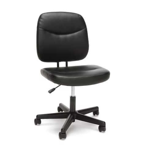 Model ESS-6005 Essentials by OFM Armless Black Leather Desk Chair