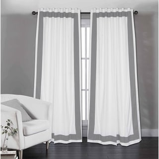 Link to Copper Grove Stavoren White Cotton Curtain Panel with Grey Trim Similar Items in Curtains & Drapes