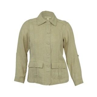 Charter Club Women's 100% Linen Button Front Jacket - Flax