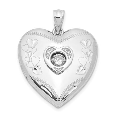 Sterling Silver 24mm Vibrant Swarovski Crystal Polished Heart Locket with 18-inch Cable Chain By Versil
