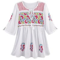Women's Tunic Top - Hand Embroidered Paisley Blouse w/3/4 Sleeves