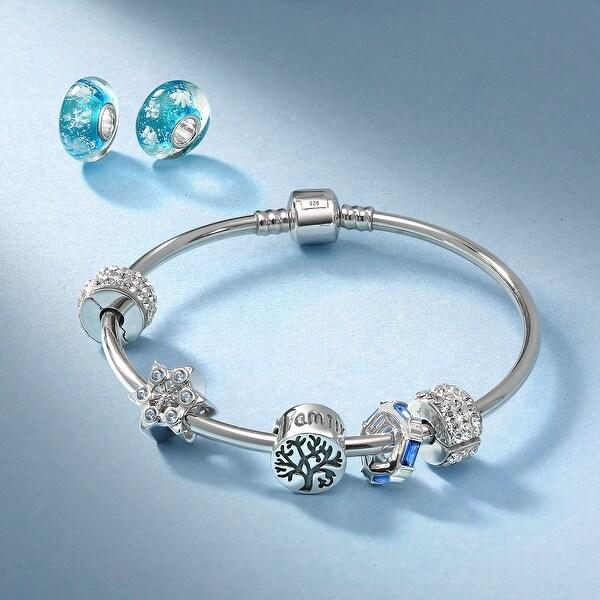 Snowflake White Enamel Christmas Snow Holiday Dangle Charm for European Bracelet