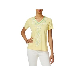 Alfred Dunner Womens Petites Pullover Top Embroidered V-Neck